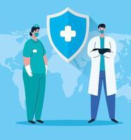 weibliche und männliche Krankenschwester und Arzt mit Uniformen und Maskenvektordesign