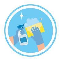 Hände halten Sprühflasche und Schwammvektorentwurf