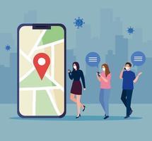 Menschen mit Masken, die Smartphone und GPS-Markierung auf Kartenvektorentwurf halten