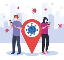Frau und Mann mit Maske, die Smartphone und GPS-Markierungsvektorentwurf hält