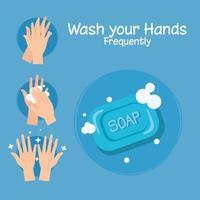 Seifenstück und Hände waschen Schritte Vektor-Design