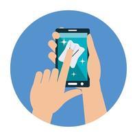 Hände, die Smartphone mit Gewebevektorentwurf reinigen