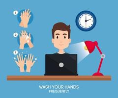 Geschäftsmann auf Schreibtisch und Hände desinfizieren Vektorentwurf