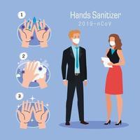 Geschäftsfrau Mann und Hände waschen Schritte Vektor-Design
