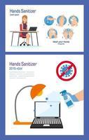 Geschäftsfrau auf Schreibtisch mit Händedesinfektionsmittel und Laptop-Vektorentwurf
