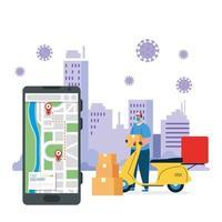 Lieferbote mit Maske Motorradboxen und Smartphone Vektor-Design vektor
