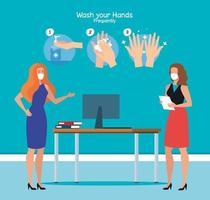 Geschäftsfrauen im Büro und Hände waschen Schritte Vektor-Design