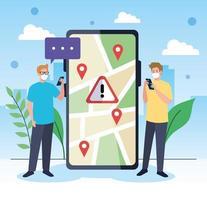 Männer mit Masken, die GPS-Markierungen des Smartphones und Blasenvektorentwurf halten