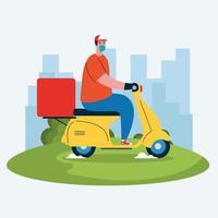 Lieferbote mit Maske Motorrad und Box Vektor Design