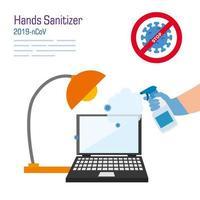 Handreinigung Laptop mit Covid 19 Virus Vektor Design