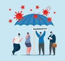 Geschäftsleute mit Masken und Regenschirm des Konkursvektordesigns