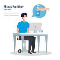 Geschäftsmann mit Maske auf Schreibtisch und Händedesinfektionsmittelvektorentwurf