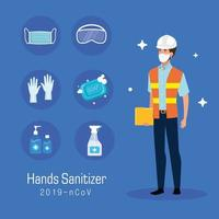 Ingenieur mit Maske und Hände Desinfektionsmittel Prävention Tipps Vektor-Design vektor