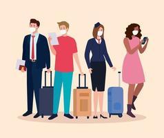 Stewardess und Menschen mit medizinischen Masken und Taschen Vektor-Design