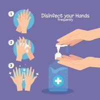 händer sanitizer flaska och händer tvätt steg vektor design