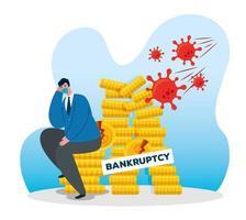 affärsman med mask och mynt torn av konkursvektordesign vektor