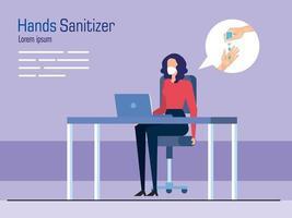 Geschäftsfrau mit Maske auf Schreibtisch und Händedesinfektionsmittelvektorentwurf