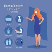 Geschäftsfrau mit Maske und Hände Desinfektionsmittel Präventionstipps Vektor-Design vektor