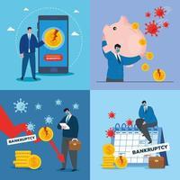 Geschäftsleute mit Masken und Geldikonensatz des Konkursvektordesigns