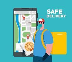 Lieferbote mit Maske Pizza Box und GPS markiert Vektor-Design vektor