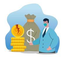 Geschäftsmann mit Maske gebrochenen Münzen und Tasche des Konkursvektorentwurfs vektor