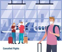 Menschen mit medizinischen Masken und Taschen vor Flugzeugvektorentwurf