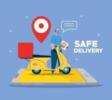 Lieferbote mit Maske Motorrad GPS-Marke und Pizzaschachtel auf Smartphone Vektor-Design