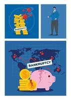 Geschäftsmann mit Maske gebrochenen Münzen und Schweinchen des Konkursvektordesigns vektor