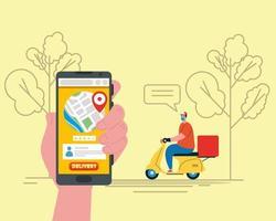 Lieferbote mit Maske Motorrad Bubble Bäume und Smartphone Vektor-Design