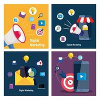 Smartphones und Megaphon mit Symbolsatz des digitalen Marketingvektordesigns