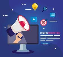 Computer mit Megaphon des digitalen Marketingvektordesigns