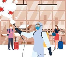 Mann mit Schutzanzug sprüht Flughafenhalle mit covid 19 Vektor-Design