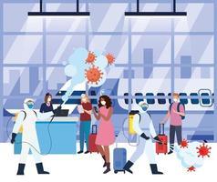 Männer mit Schutzanzug sprühen Flughafenhalle mit Covid 19 Vektor-Design
