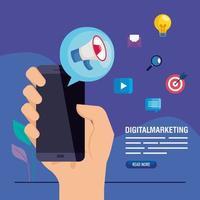 Hand, die Smartphone mit Megaphon des digitalen Marketingvektorentwurfs hält