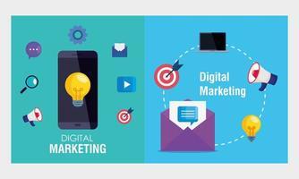 Smartphone und Umschlag mit Symbolsatz des digitalen Marketingvektordesigns