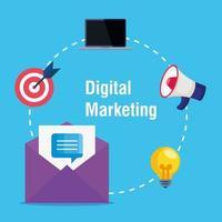 Umschlag mit Symbolsatz des digitalen Marketingvektorentwurfs