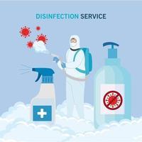 Mann mit Schutzanzug sprüht Covid 19 Virus und Desinfektionsflaschen Vektor-Design vektor
