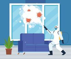 Mann mit Schutzanzug sprüht nach Hause Fenster und Couch mit Covid 19 Vektor-Design vektor