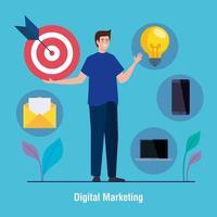 Mann mit Ikonensatz des digitalen Marketingvektorentwurfs vektor