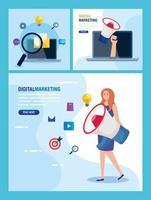 Frau mit Megaphon und Symbolsatz des digitalen Marketingvektordesigns