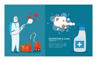 Mann mit Schutzanzug sprüht Reinigungsausrüstung und Desinfektionsmittel mit covid 19 Vektordesign vektor
