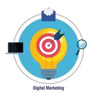Ziel auf Glühbirne mit Symbolsatz des digitalen Marketingvektordesigns