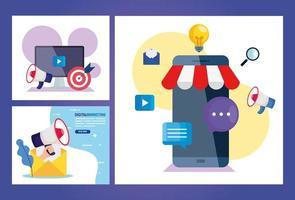 Smartphone mit Symbolsatz des digitalen Marketingvektordesigns