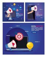 Laptop mit Symbolsatz des digitalen Marketingvektorentwurfs