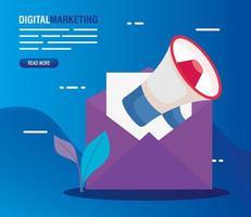 Umschlag mit Megaphon des digitalen Marketingvektorentwurfs