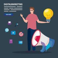 Mann mit Megaphon und Symbolsatz des digitalen Marketingvektordesigns