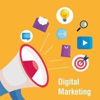 Megaphon mit Symbolsatz des digitalen Marketingvektordesigns