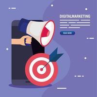 Smartphone-Ziel und Megaphon des digitalen Marketing-Vektorentwurfs