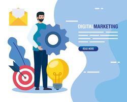 Mann mit Ausrüstung und Symbolsatz des digitalen Marketingvektordesigns vektor