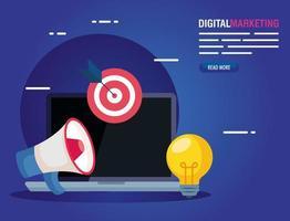 Laptop mit Megaphonziel und Glühbirne des digitalen Marketingvektordesigns